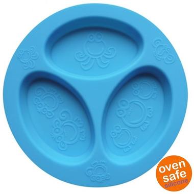 Oogaa, Blue Divided Plate silikonowy talerzyk trójdzielny