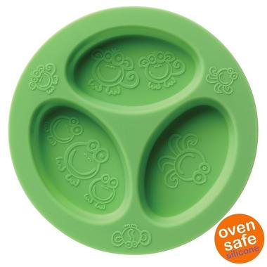Oogaa, Green Divided Plate silikonowy talerzyk trójdzielny