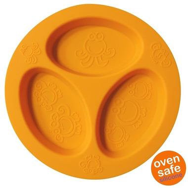 Oogaa, Orange Divided Plate silikonowy talerzyk trójdzielny