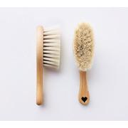 Lullalove, Miękka szczotka z koziego włosia z myjką muślinową - romby