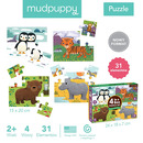 Mudpuppy, Puzzle 4 w 1 Zwierzęta świata 4, 6, 9 i 12 elementów 2+