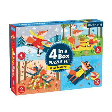 Mudpuppy, Puzzle 4 w 1 Pory roku 4, 6, 9 i 12 elementów 2+
