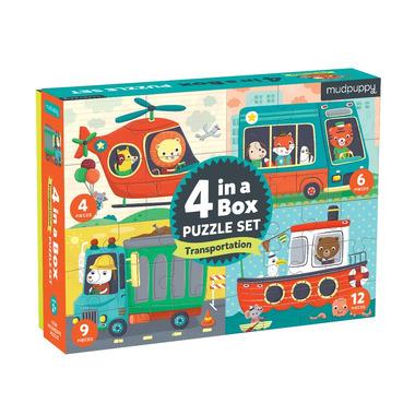 Mudpuppy, Puzzle 4 w 1 Pojazdy 4, 6, 9 i 12 elementów 2+
