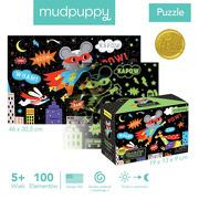 Mudpuppy, Puzzle świecące w ciemności Superbohaterowie 100 elementów 5+