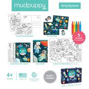Mudpuppy, Zestaw kreatywny Naklejki, Malowanki, Łamigłówki z 5 kredkami Kosmos 4+