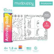 Mudpuppy, Łamigłówki kolorowanki w rolce 1,8 m z 5 kredkami Magiczne Jednorożce 4+