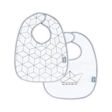 Jollein, Bawełniany śliniak wodoodporny Graphic szary (2 sztuki)