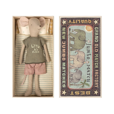 Maileg, Myszka w pudełku, medium boy 34 cm