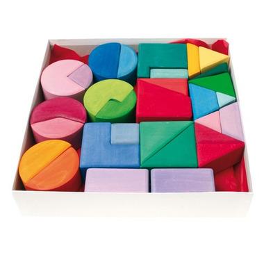 Grimm's, Zestaw kolorowych klocków - trójkąty, koła i kwadraty, 1+