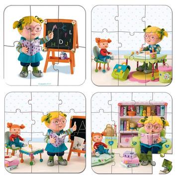 Janod, puzzle Szkoła 6 9 12 i 16 elementów