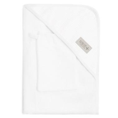 Bamboom, Ręcznik z Kapturkiem i Myjka 100% Bambus Organiczny Biały&Biały