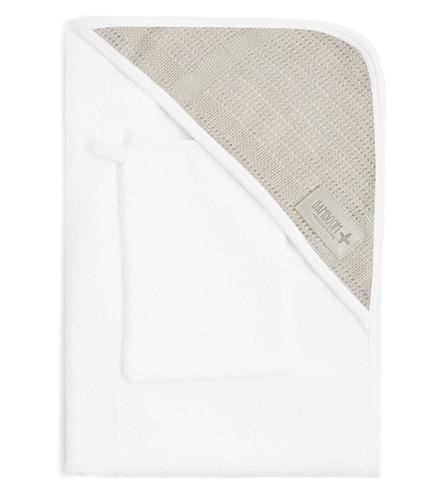 Bamboom, Ręcznik z Kapturkiem i Myjka 100% Bambus Organiczny Biały&Beżowy