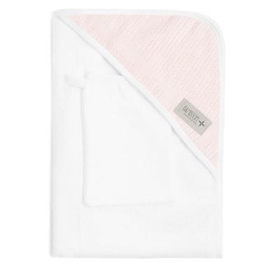 Bamboom, Ręcznik z Kapturkiem i Myjka 100% Bambus Organiczny Biały&Różowy