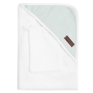 Bamboom, Ręcznik z Kapturkiem + Myjka 100% Bambus Organiczny Biały&Miętowy