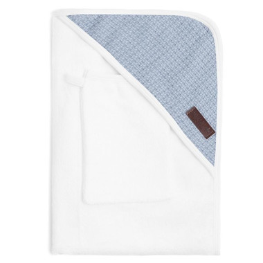 Bamboom, Ręcznik z Kapturkiem + Myjka 100% Bambus Organiczny Biały&Niebieski