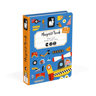 Janod, Magnetyczna układanka Pojazdy Magnetibook kolekcja 2018