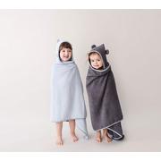 LULLALOVE, Pastelowy, bambusowy duży ręcznik z uszkami - szary