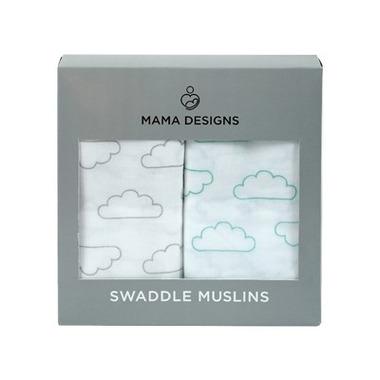 Mama Designs, Otulacz Muślinowy 2szt Cloud