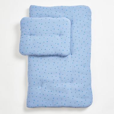 Bimbla, Komplet pościeli muślinowej z wypełnieniem Blue Stars 75 x 95 cm / 30 x 40 cm