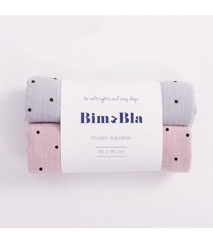 Bimbla, Zestaw muślinowych pieluszek w kropeczki szaro-różowy