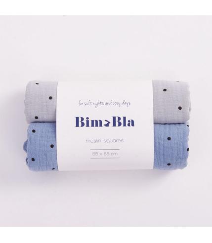 Bimbla, Zestaw pieluszek muślinowych w kropeczki szaro-niebieski