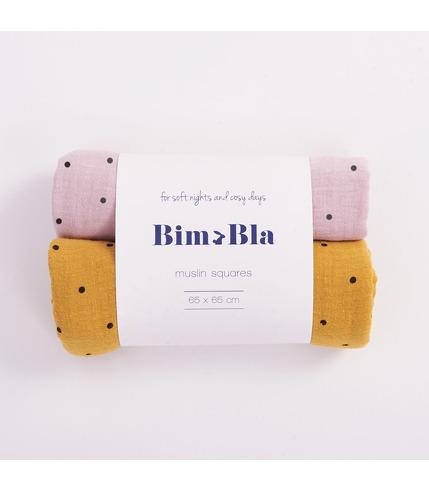 Bimbla, Zestaw pieluszek muślinowych w kropeczki różowo-musztardowy