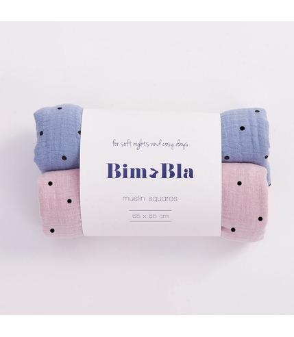 Bimbla, Zestaw pieluszek muślinowych w kropeczki różowo-niebieski