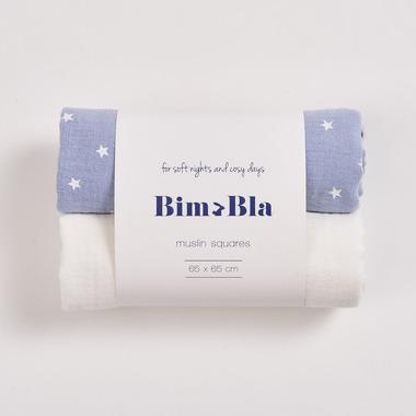 Bimbla, Zestaw pieluszek muślinowych gwiazdki - niebieski