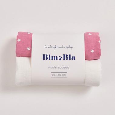 Bimbla, Zestaw pieluszek muślinowych gwiazdki - róż