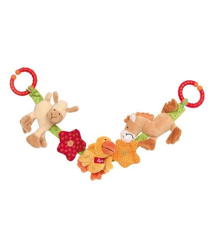 SIGIKID, Miękki łańcuch do wózka Zwierzęta na farmie z grzechotką, dzwoneczkiem, piszczałką i szeleszczącą folią