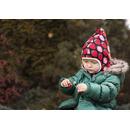Dwustronna czapeczka krasnala Skimo ecru-truskawki