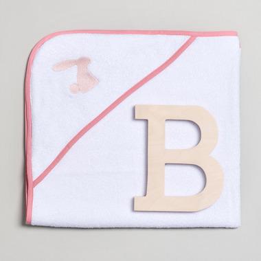 Bimbla, Ręcznik niemowlęcy z różowym haftem