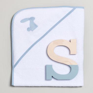 Bimbla, Ręcznik niemowlęcy z niebieskim haftem