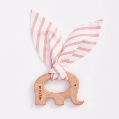 Bimbla, Drewniany gryzak Little Friends Różowe paseczki słonik