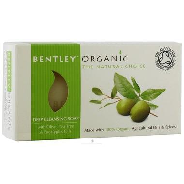 Bentley Organic, GŁĘBOKO OCZYSZCZAJĄCE Mydło z Oliwek, Olejku Herbacianego i Eukaliptusa 150g
