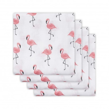Jollein, otulacze 70 x 70 cm Flamingi (4 sztuki)