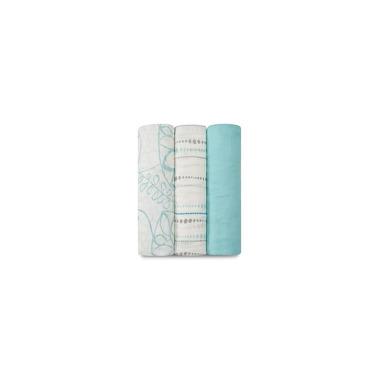 Aden & Anais, Zestaw 3 bambusowych otulaczy 120x120 cm azure
