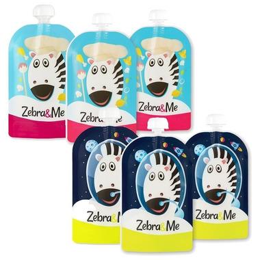 Zebra & Me, 6 PACK II Saszetki do karmienia wielorazowe