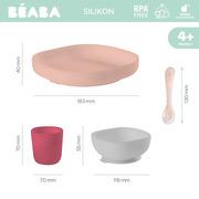 Beaba, Komplet naczyń z silikonu pink