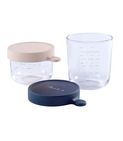 Beaba, Zestaw pojemników słoiczków szklanych z hermetycznym zamknięciem 150 + 250 ml pink i dark blue
