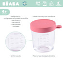 Beaba, Pojemnik słoiczek szklany z hermetycznym zamknięciem 250 ml dark pink