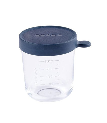 Beaba, Pojemnik słoiczek szklany z hermetycznym zamknięciem 250 ml dark blue