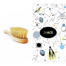 Lullalove , szczotka z naturalnego włosia w zestawie z muślinową myjką SPACE