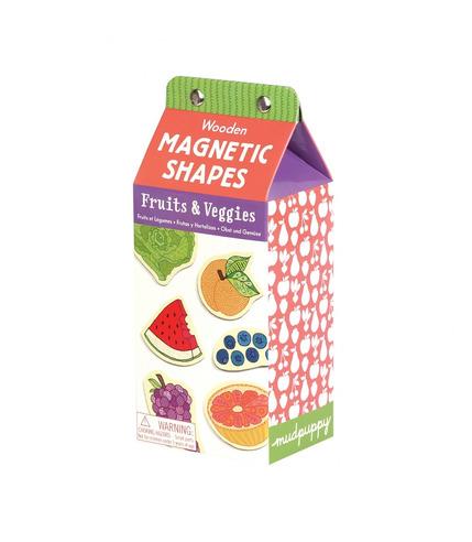 MUDPUPPY Drewniane magnesy – owoce i warzywa