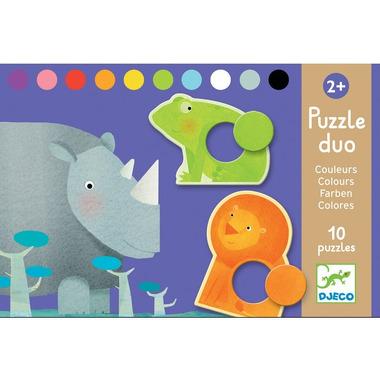 Djeco, puzzle duo kolorowe zwierzątka