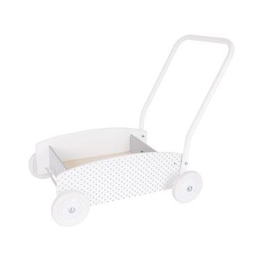 JaBaDaBaDo, drewniany chodzik, wózek -pchacz biały w szare kropki