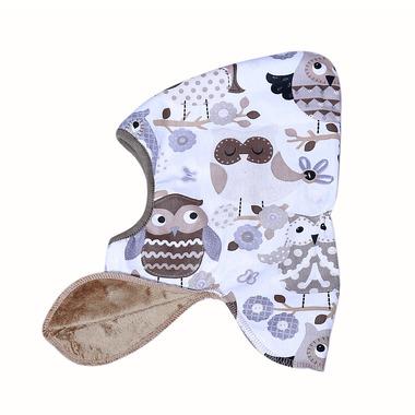 Dwustronna czapeczka krasnala Skimo beżowa - sowy