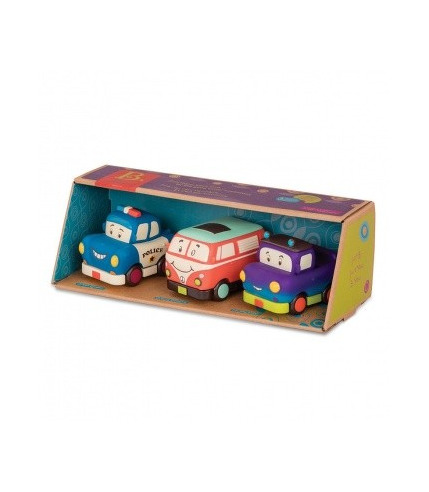 Btoys, Autka miękkie wersja MINI – zestaw 3 sztuk (radiowóz, bus, pick-up)