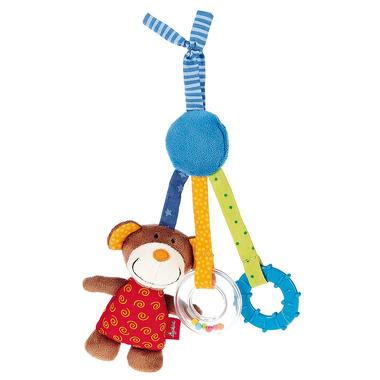 SIGIKID Aktywizująca zawieszka z misiem do fotelika lub wózka  z gryzakiem, grzechotką i piszczałką 3m+ PlayQ