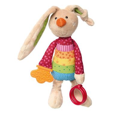 SIGIKID Przytulanka aktywizująca Królik Rainbow z obręczami, gryzakiem, grzechotką i szeleszczącą folią